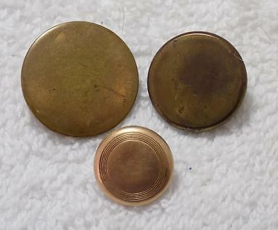 Lot of 3 Antique Golden Age Gold Gilt One Piece Buttons w/ Back Mark Fine Gold