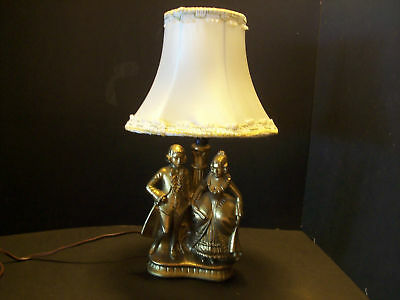 Art Deco SPELTER Metal Man & Lady table Lamp w/shade Brass Tone 1900-1940 USA