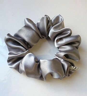 Silver coloured satin fabric hair scrunchie ponytail holder HANDMADE Quality