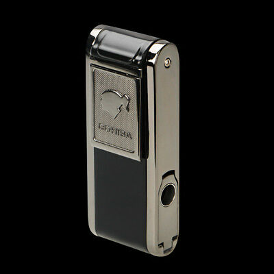 Cohiba Metal Black Classic Cigar Lighter 2 Torch Jet Flame W/Lateral Punch