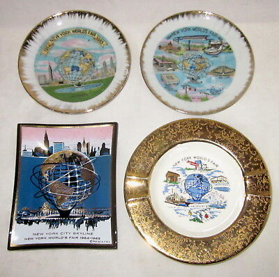 Lot 4 New York WORLD'S FAIR 1964 dish ashtray tray glass ceramic Houze Art