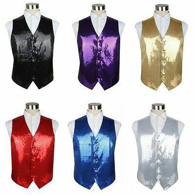 Mens Sequin Quality Vest Sequins Waistcoat Wedding Black Red Gold Silver Purple