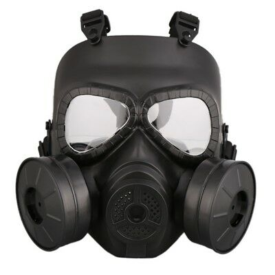 Airsoft Gas Mask Double Filter Fan CS Edition Perspiration Guard Dust Face Mask