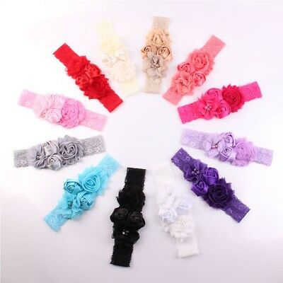 Cute Kids Baby Girls Toddler Lace Flower Headband Hair Band Headwear Accessories