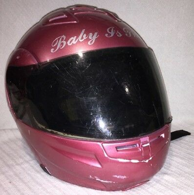 "Ladies Size XL Full Face Motorcycle Helmet Pink ""Baby Is Phat"" Ride Biker Safety"