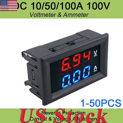 Digital Red LED Voltage Meter DC 100V 10A Voltmeter Ammeter Blue+Red LED Dual