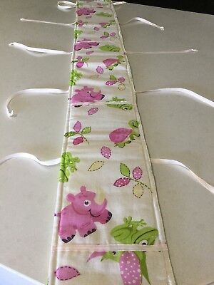 Cot Rail Cover, Teething Pad, Pink Rhino, Handmade, New