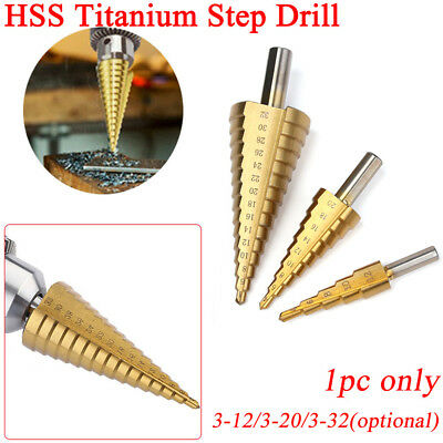 HSS Steel Titanium Step Drill Bits Step Cone Cutting Steel Wood Metal Tool HQ