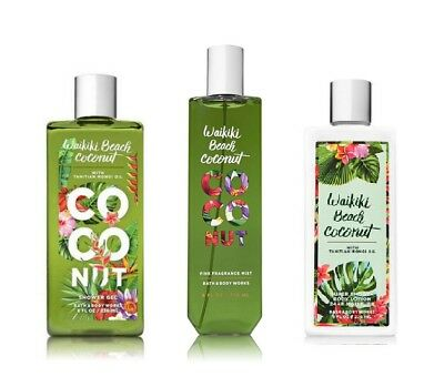 3 Piece Bath & Body Works Waikiki Beach Coconut Fragrance Mist Lotion Shower Gel