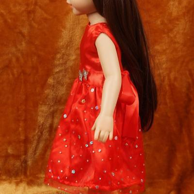 """Fashion Dolls' Red Skirt Clothes Dress For 18"""" Doll Sequins Tool"""