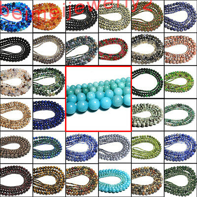 Wholesale Natural Gemstone Round Spacer Assorted Loose Beads 4mm 6mm 8mm 10mm