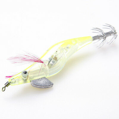 Yellow 12g Night LED Light SHRIMP SQUID Hook FISHING LURE  for Catching Squid