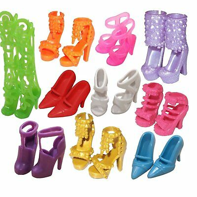 10Pairs Fashion Party Daily Wear Outfits Clothes Shoes For Barbie Doll Deluxe PU
