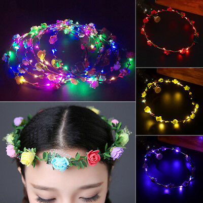 LED Floral Flower Wreath Hair Band Headband Boho Light Up Wedding Xmas Party