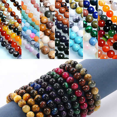 4 8 10 mm Natural Stone Round Loose Beads for Beaded Bracelet Jewelry Making DIY