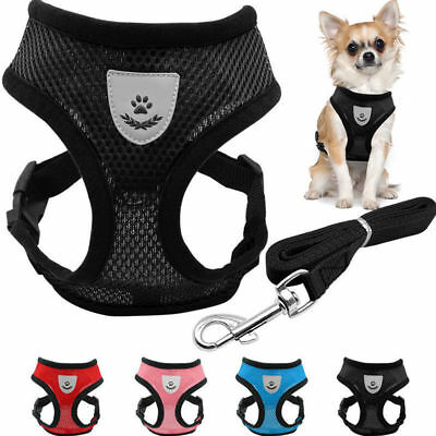 Breathable Mesh Small Dog Cat Pet Harness and Leash Set Adjustable Puppy Vest