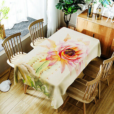 1pc Christmas Rectangular Waterproof Flower Tablecloth Printed Table Cloth Cover