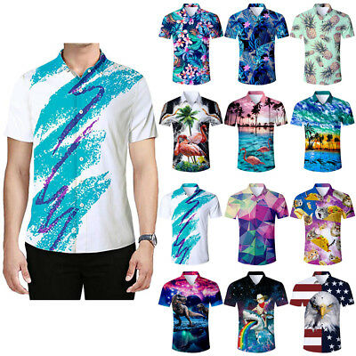 Men's 3D Print Flower Hawaiian Shirt Casual Beach Short Sleeve Button Down Shirt