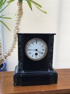 Antique French 19th c Japy Fils Slate Marble 8 day mantle clock