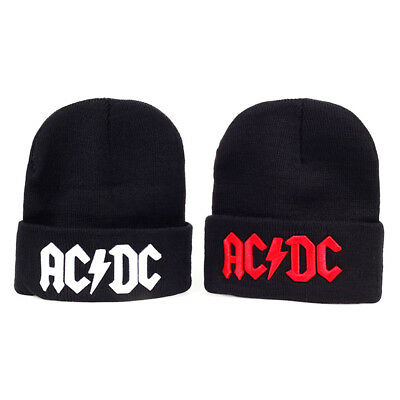 Mens Womens ACDC Rock Skull Beanie Hats Winter Knitted Caps Soft Warm Ski Hat