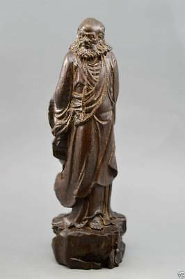 Chinese agalloch eaglewood wood antique hand-carved bodhisattva statue 达摩