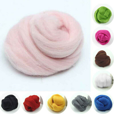 100% Genuine Wool Top Fibre Roving for Wet & Needle Felting 5g~100g Pure Color