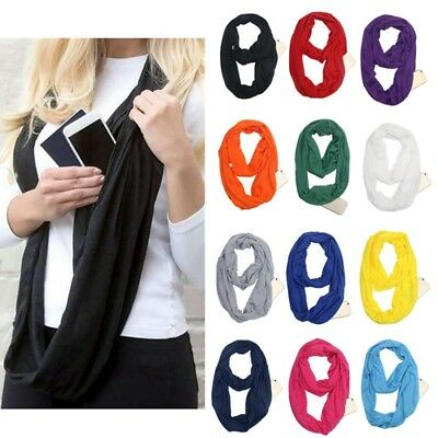 Winter Convertible Infinity- Scarf With Pocket Loop Scarf Women Zipper Pocket US