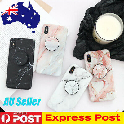 CHIC Marble Put Up Holder Soft Case Cover For iPhone X XR XS Max 8 Plus 7 6s 6