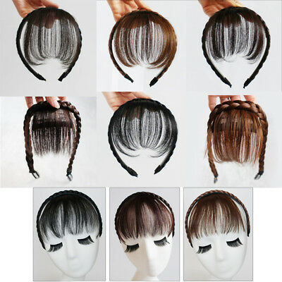 Natural Women Synthetic Hair Braided Headband Neat Air Bangs Fringe Hairpiece