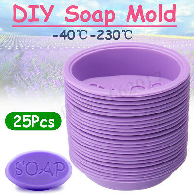 25Pcs Silicone Oval Soap Making Moulds Cake Chocolate Mold DIY Candle Cupcake