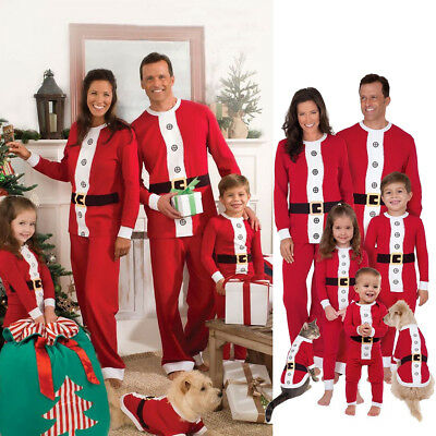 Christmas Family Matching Pajamas Set Santa Womens Kids Baby Sleepwear Nightwear