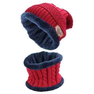 2pcs Men's Winter Beanie Hat Scarf Set Warm Knitted Skull Cap with Scarf