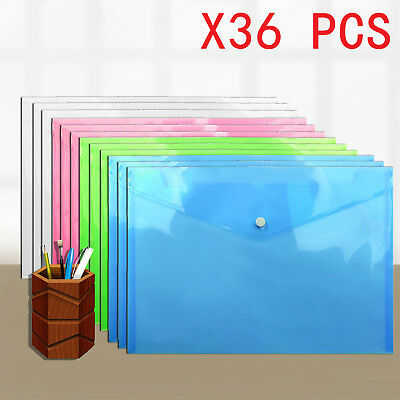 36X A4 Document Wallet Plastic Stud Paper Storage Color Folders Filing Office
