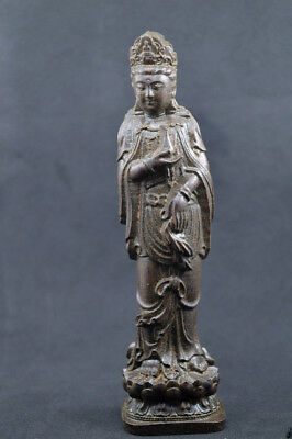 hand-carved Chinese agalloch eaglewood wood antique bodhisattva statue guan yin