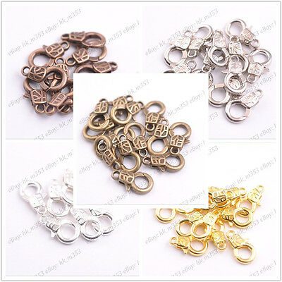 10Pcs Gold Silver Plated Bronze Copper Charms Lobster Clasps 17x10MM K3135