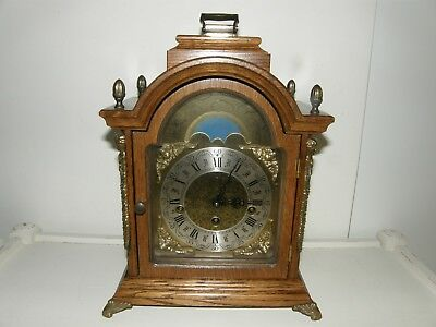 Franz HERMLE Sligh Westminster Chime Oak Mantle Clock W/Moon Phase /Germany