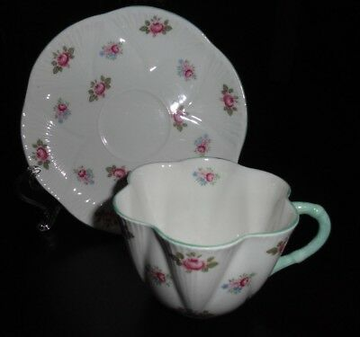 SHELLEY PINK ROSE BUD TEA CUP AND SAUCER MADE IN ENGLAND Pattern 13426