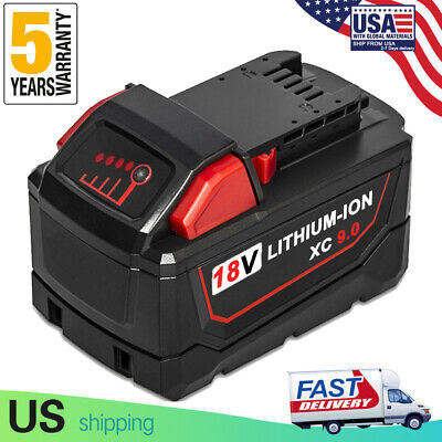 REPLACE For MILWAUKEE 48-11-1890 18 V LI-ION BATTERY PACK M18 9.0Ah HIGH Quality