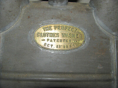 Vintage The Perfect Clothes Washer Patented October 13 1885 Tin with Name plate