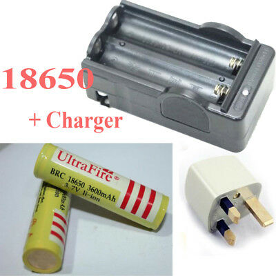2pcs 18650 3.7v 3600mAh Rechargeable Li-ion Replace Batteries + Battery Charger