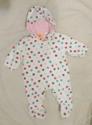 Pumpkin Patch sz 3-6mth Soft Fleece Hooded Growsuit