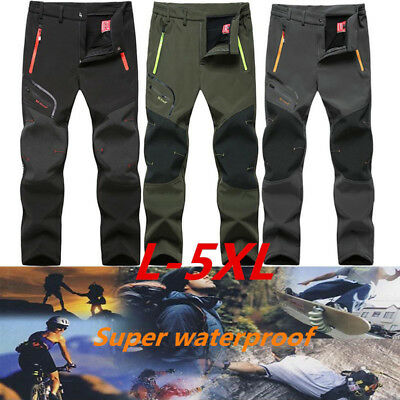 Men Outdoor Waterproof Pants Camping Hiking Skiing Thicken Warm Trousers