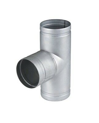 Metal T Piece - Ducting Pipe / Hose Tee Connector - Duct 3 Way Adaptor