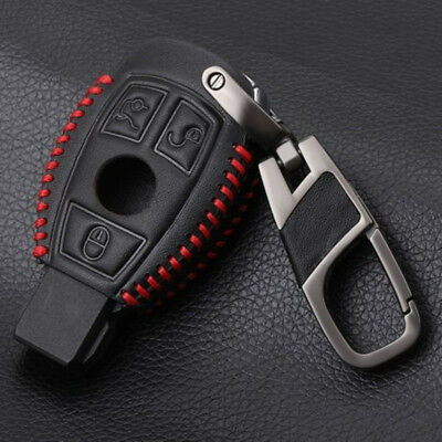 Red Line PU Leather Car Key Case Cover For Mercedes Benz 3 Button C E ClA Class