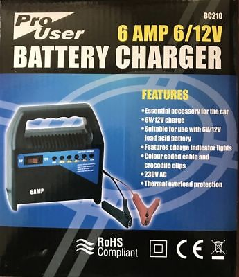 car battery charger 6 amp 12v vehicle car van compact portable electric bike new