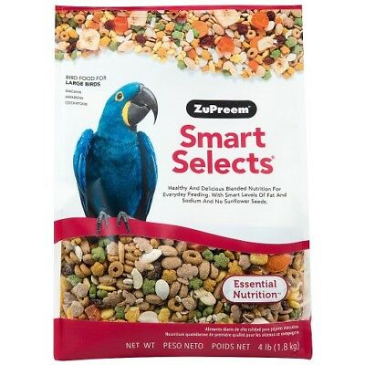 Zupreem Smart Selects - Large Parrot Food - 4Lb - Macaws/cockatoos/amazons