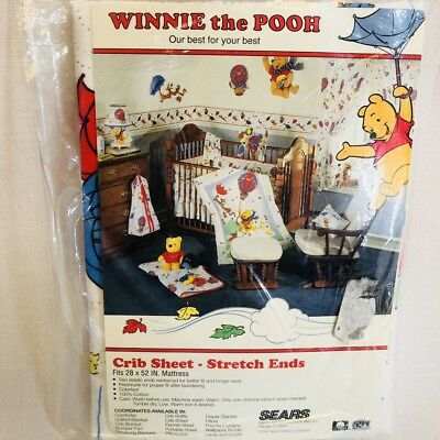 Vintage Sears Winnie the Pooh Crib Toddler Sheet New Factory Sealed USA
