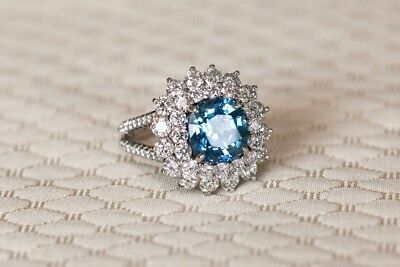 2.00ct Cushion Cut Round Blue Diamond Engagement Ring 2 Row 14k White Gold Over
