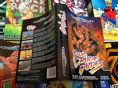 TWO CRUDE DUDES Sega Mega Drive Game Inlay Cover ONLY No Game