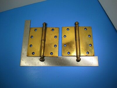 "Antique 2 Stanley Sweetheart Brass Plated Short Pin Door Hinges 5"" X 5"" VS11 B4"
